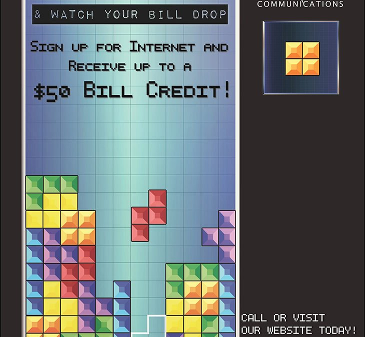 $50 bill credit for internet sign up tetris graphic