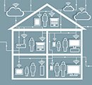 Cloud Computing Paper Cutout Stickers with Cutaway Residential House