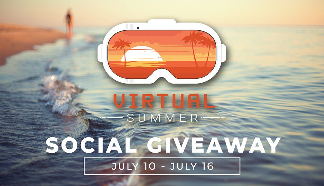 Virtual Summer Giveaway graphic with goggles over the beach